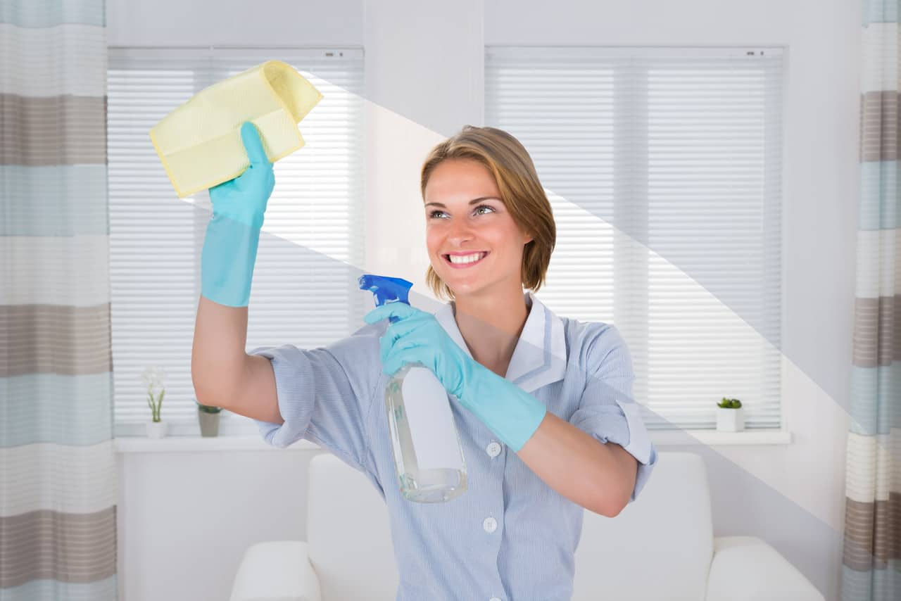 Maid cleans living room windows with rag and glass cleaner