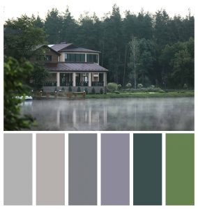 Color palette for outdoor landscape including natural, neutral paint colors such as grays and greens
