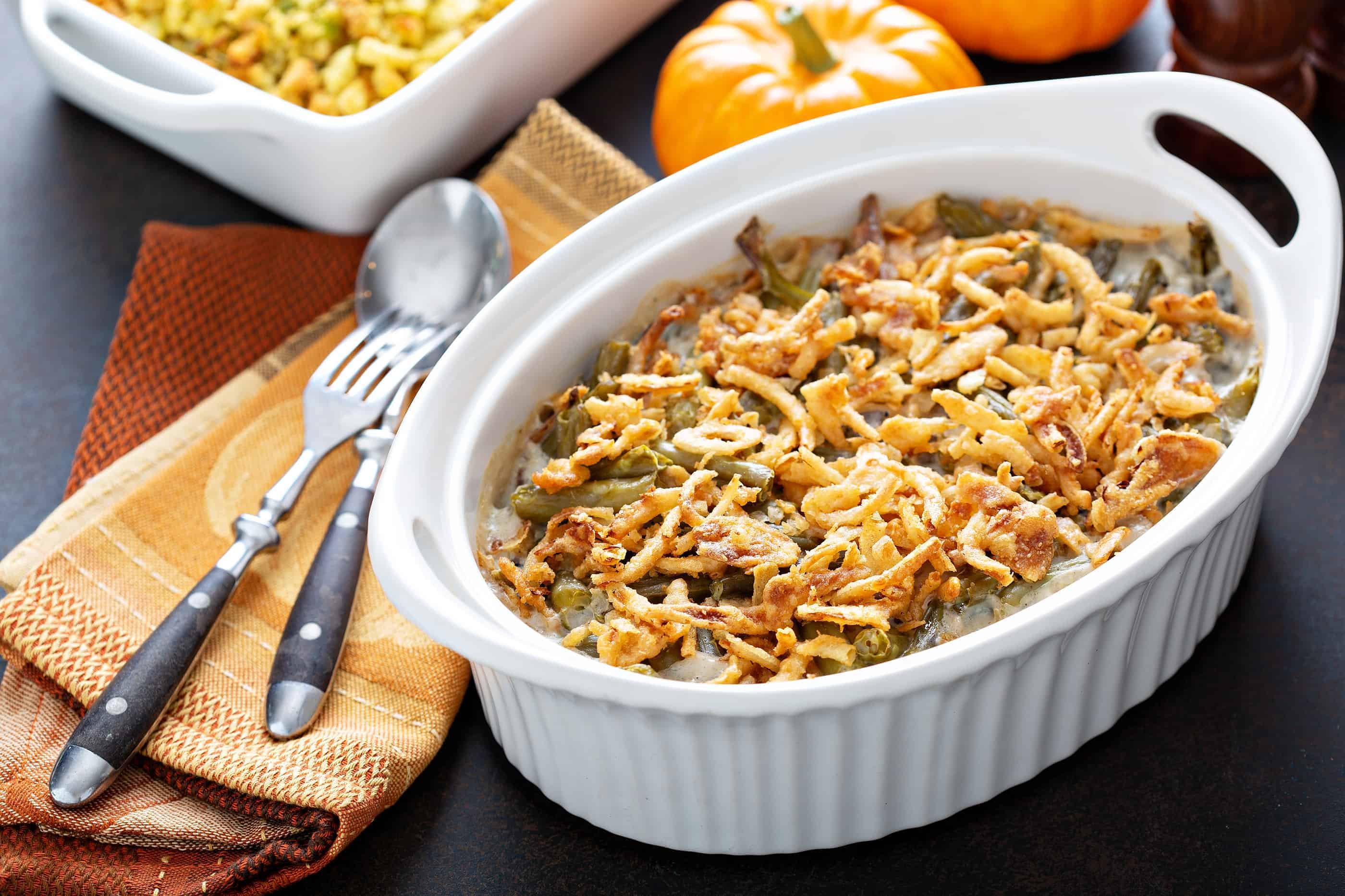 Geen bean casserole set on table ready for Thanksgiving dinner