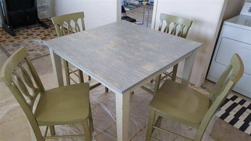 Small kitchen table with chalk paint top in Utah home