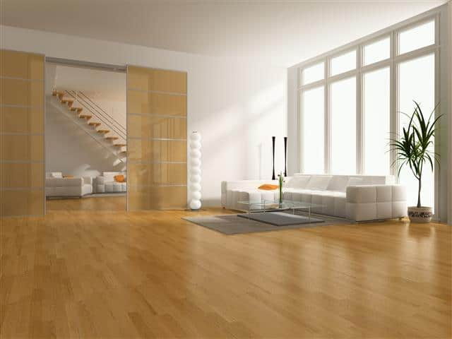 Hardwood floors inside home shine from wood floor coating and finish