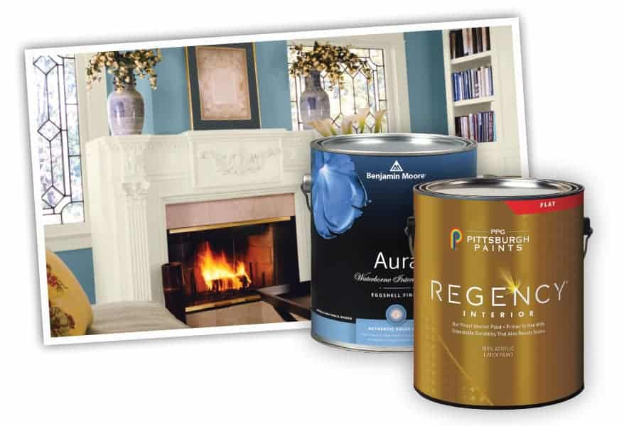 Interior house paint brands and an example of their vibrant colors sold at Jones Paint & Glass