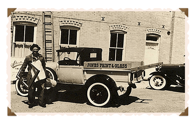 Old photograph depicting the original Jones Paint & Glass truck