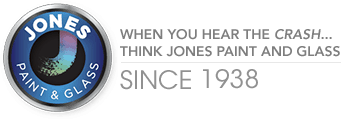Jones Paint & Glass logo, a local supplier in Utah for windows, doors, paint, and glass products