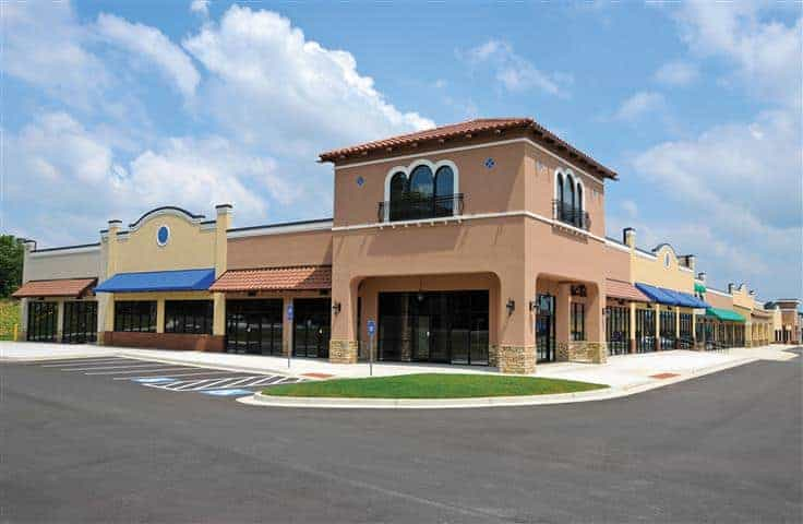 Commercial buildings painted with new coat of exterior paint