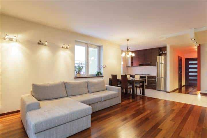 Basement apartment living space with newly painted walls