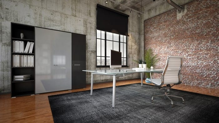 Commercial window in 3D rendering of industrial business office
