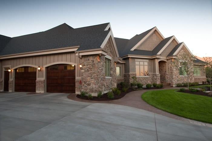Wood garage doors on luxury home in Utah