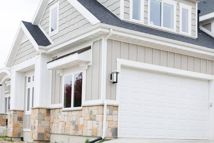 Utah home exterior with new garage doors