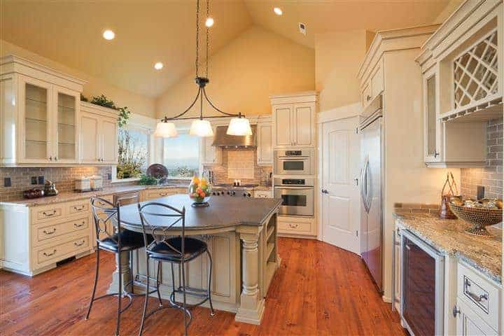 Home kitchen painted with light yellow interior paint