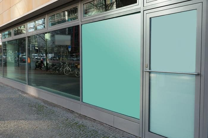 Commercial storefront windows and door