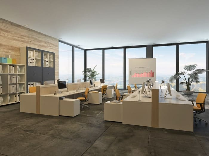 Rendering of open office space with floor-to-ceiling commercial windows