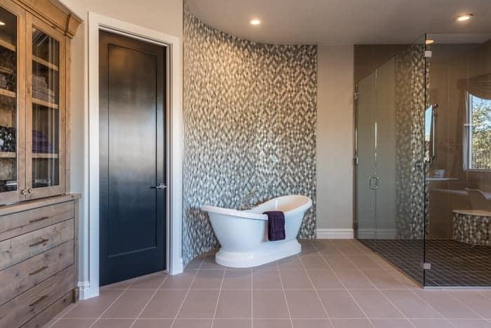 Euro shower glass doors in luxury bathroom