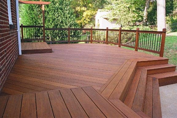 Wood deck after stain and finish have been painted on