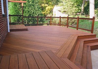 Wood deck after applying wood stain and floor finish