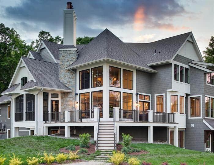 Luxury home exterior with large vinyl windows