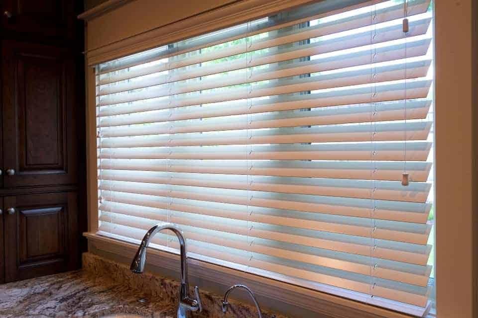 Window treatment blinds for window above kitchen sink