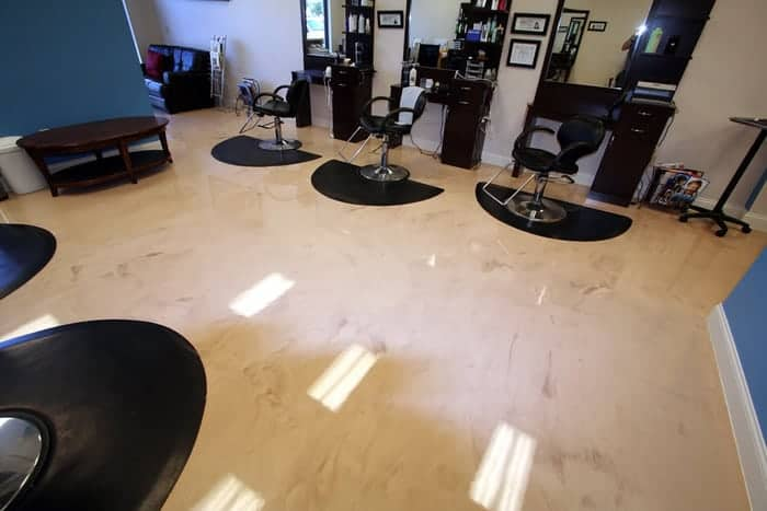 Commercial hair salon in Provo Utah with new floor coating from Jones Paint & Glass