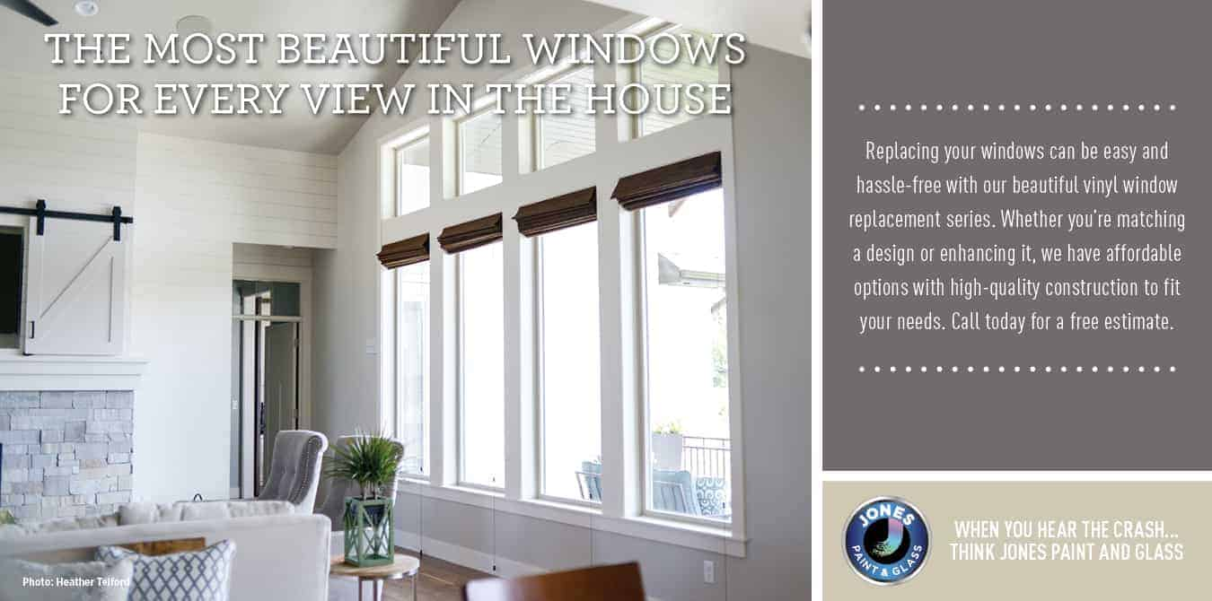 Jones Paint & Glass promotional image for replacement vinyl windows