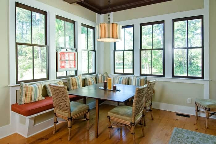 Dining room with wood windows show view outside
