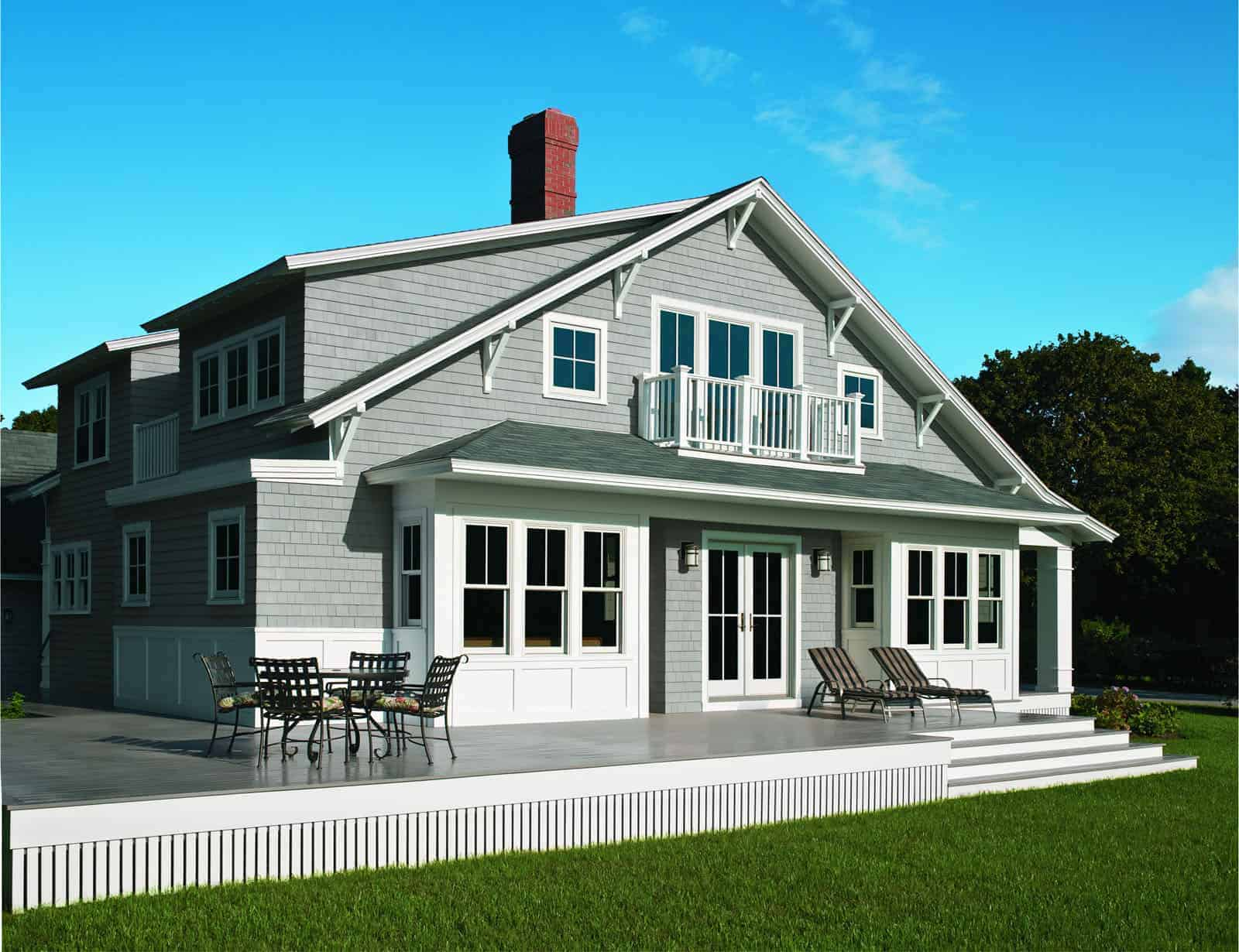 3D rendering of residential home with new wood windows