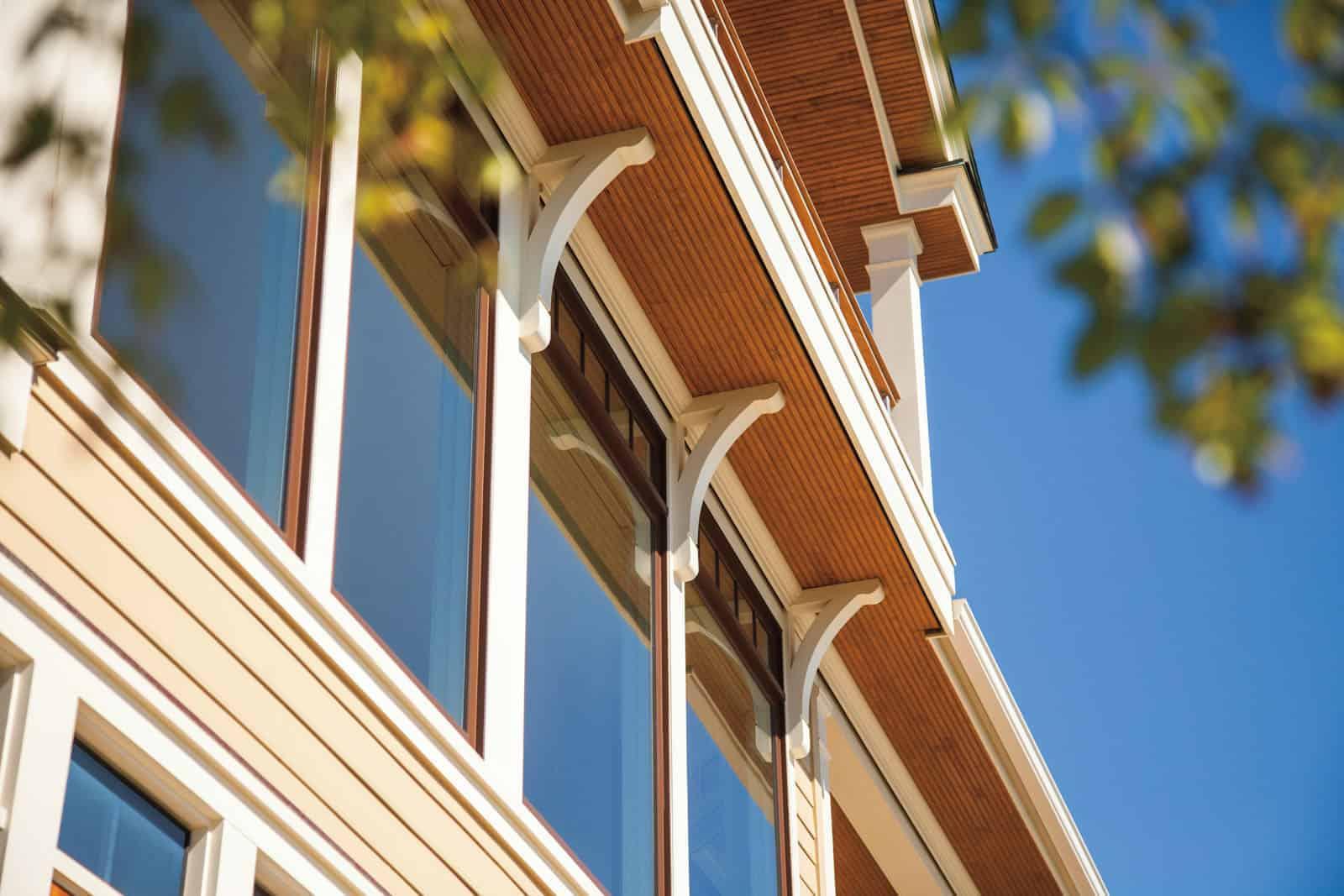 Row of wood clad windows on Utah home