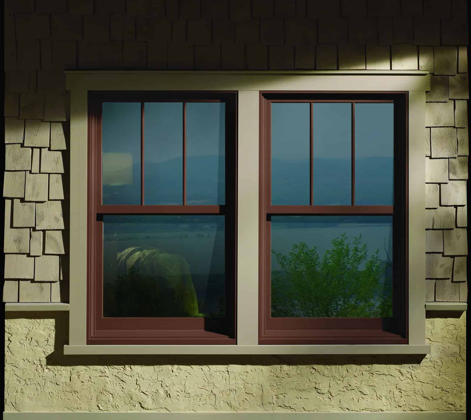 Pair of dark wood windows