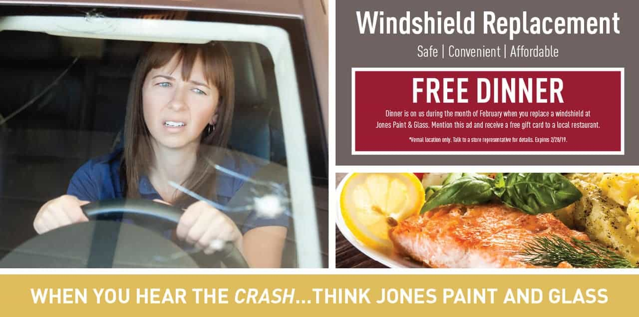 Windshield Replacement offer for Free Dinner from Jones Paint & Glass in Vernal Utah