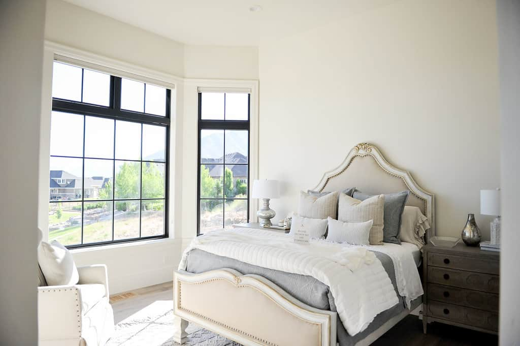 Residential bedroom with new vinyl windows from local window supplier in Utah County