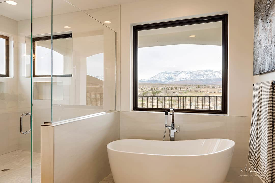 Euro glass shower custom created and installed by glass shop in Utah