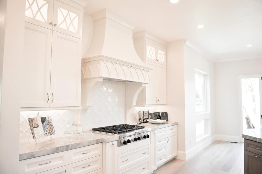 Interior white paint products in newly painted Utah kitchen