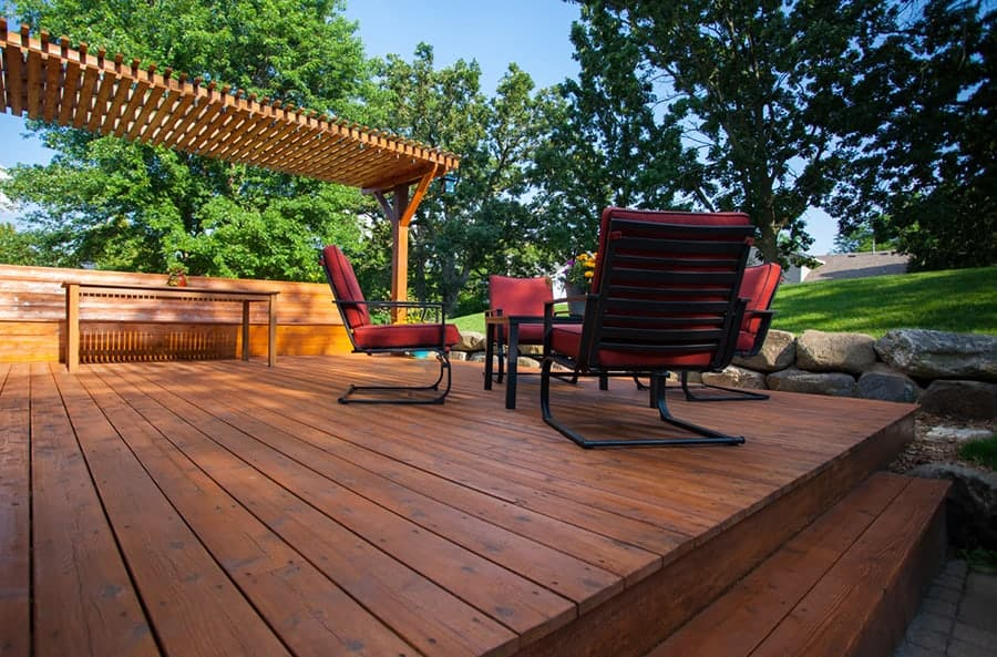 Wood stain and finish products applied to deck in Utah residential home
