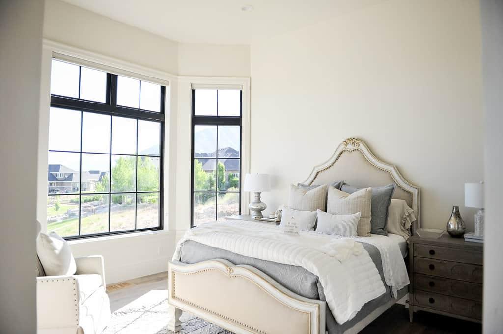 Dark Frame Windows in Utah Bedroom from Jones Paint & Glass Window Store