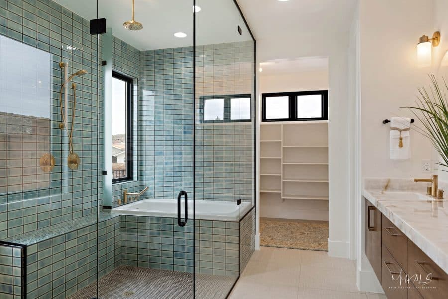 Large Glass Shower with Tub Inside in Home in Utah by Jones Paint & Glass
