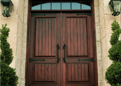 Mahogany Double Entry Door with 6 arched glass lites above